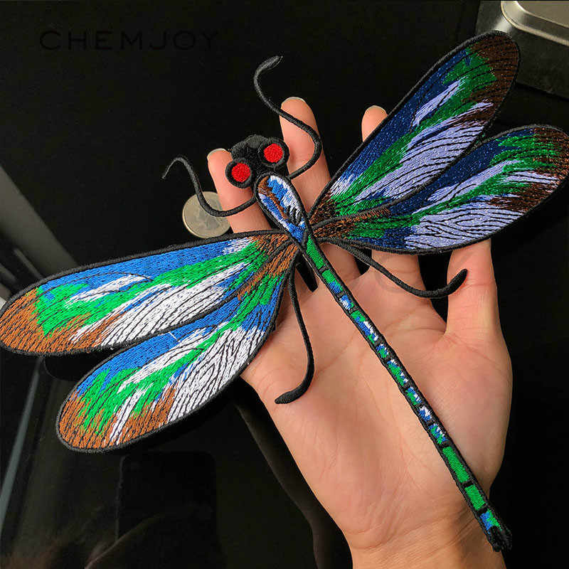 1Pcs New Large Size Dragonfly Embroidery Patch Ironing on Clothes Sticker Big Appliques for Jackets Coats Iron Stickers for Bags