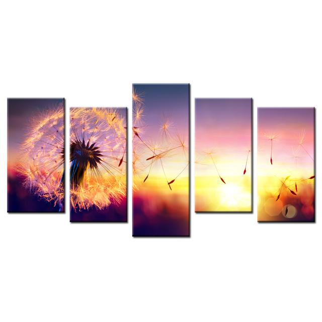 Canvas Art Print Poster Dandelion In Sunset Painting 5 Modular Pictures  Wall Decor For Living Room