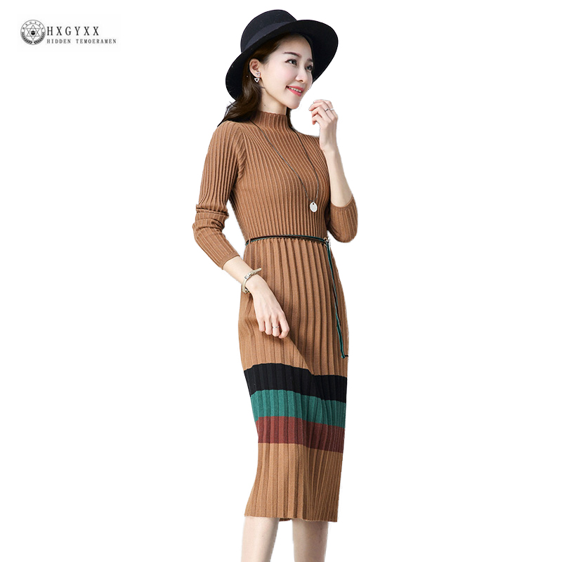 Long Knitted Sweater Dress Striped Pullover Stand Collar Full Sleeve Pleated Women Dresses 2018 Spring Elastic Slim Dress OK1499 silvercell women sexy off shoulder club dress fashion knitted elastic sweater slim bodycon dress vestidos