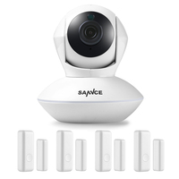 SANNCE 915MHz Wireless Security Alarm 1 720P IP Camera 4 Door Sensors Wi Fi Network Defender