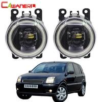 Cawanerl For Ford Fusion Estate JU 2002 2008 Car H11 LED Bulb Front Fog Light Kit Angel Eye Daytime Running Light DRL 4000LM 12V