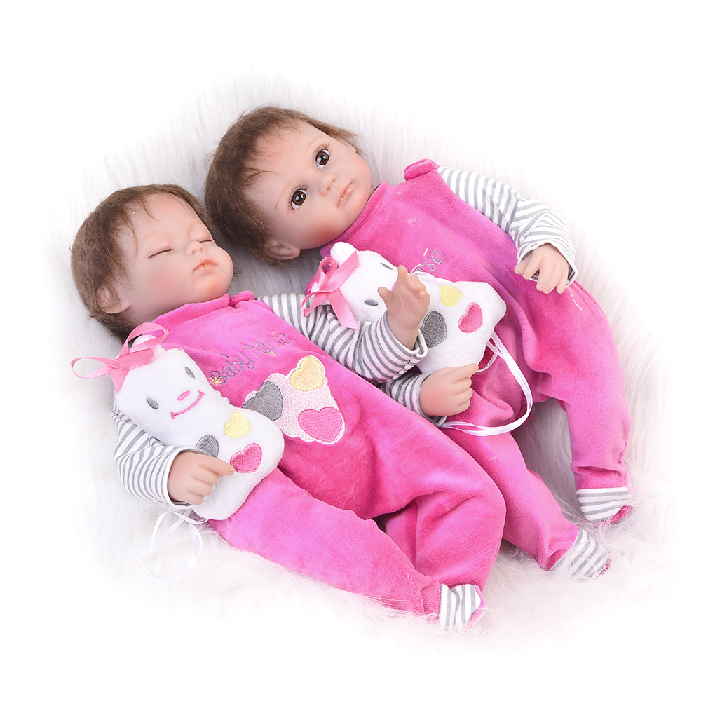 Hot 17 Inch Twins Doll Reborn Babies Soft Silicone Newborn Dolls Open and Sleeping Girls For Children Birthday Gifts Baby Toys hot sale 2016 npk 22 inch reborn baby doll lovely soft silicone newborn girl dolls as birthday christmas gifts free pacifier