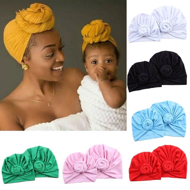 1fc04bec3 US $7.42 40% OFF|YJSFG HOUSE 2Pcs Mom Kids Baby Turban Knot Pom Bobble Hat  Indian Beanie Cap Hat Bath Towel Cap Cute Cotton Parenting equipment-in ...