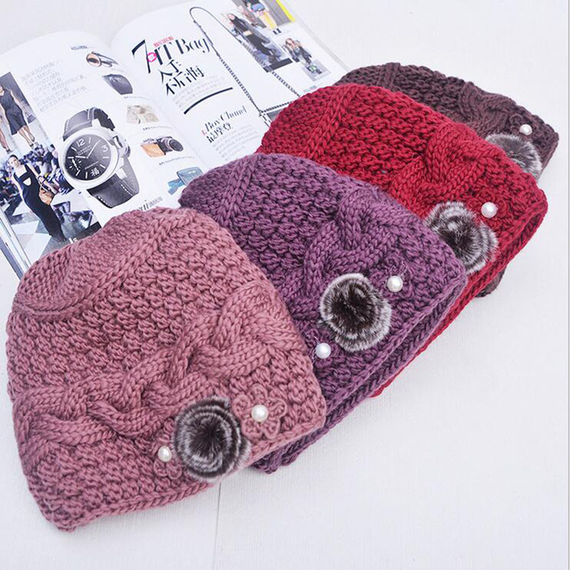 New Fashion Women Winter Knitted Hat Sets Floral Bonnet Wool Mixed Rabbit Fur Warm Hat Scarf Outdoor Knitted Baggy Headwear Cap