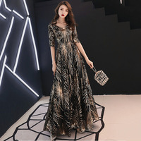 Black Gold Sequined V Neck Half Sleeve Long Elegant Luxury Party Dress Sexy Night Club Clothes Women Formal Dresses Evening Wear