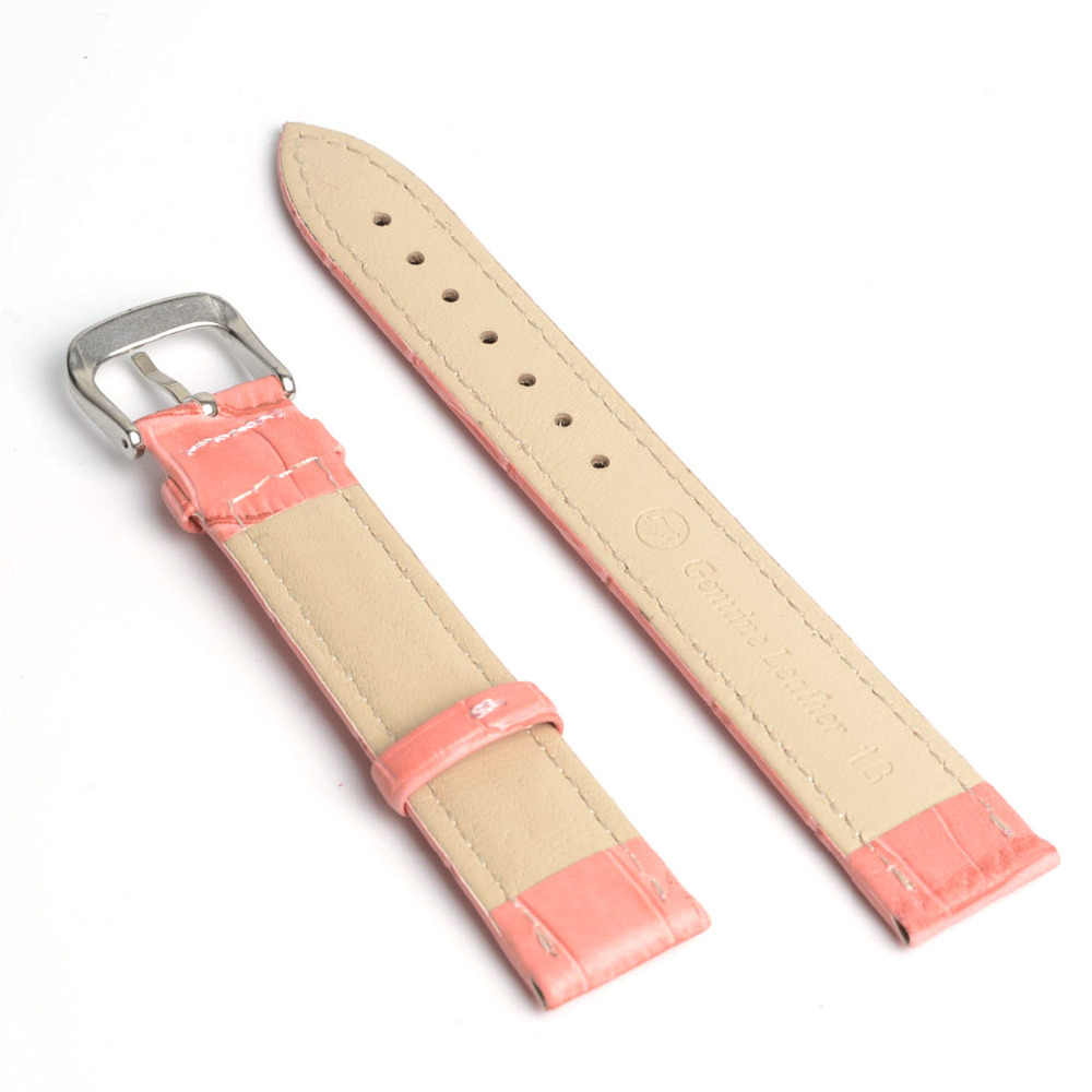 2019 New Fashion 12mm 14mm 16mm 18mm 20mm 22mm 24mm Pink & Red Soft Genuine Leather Grain Watch Band Strap Calf Watchband