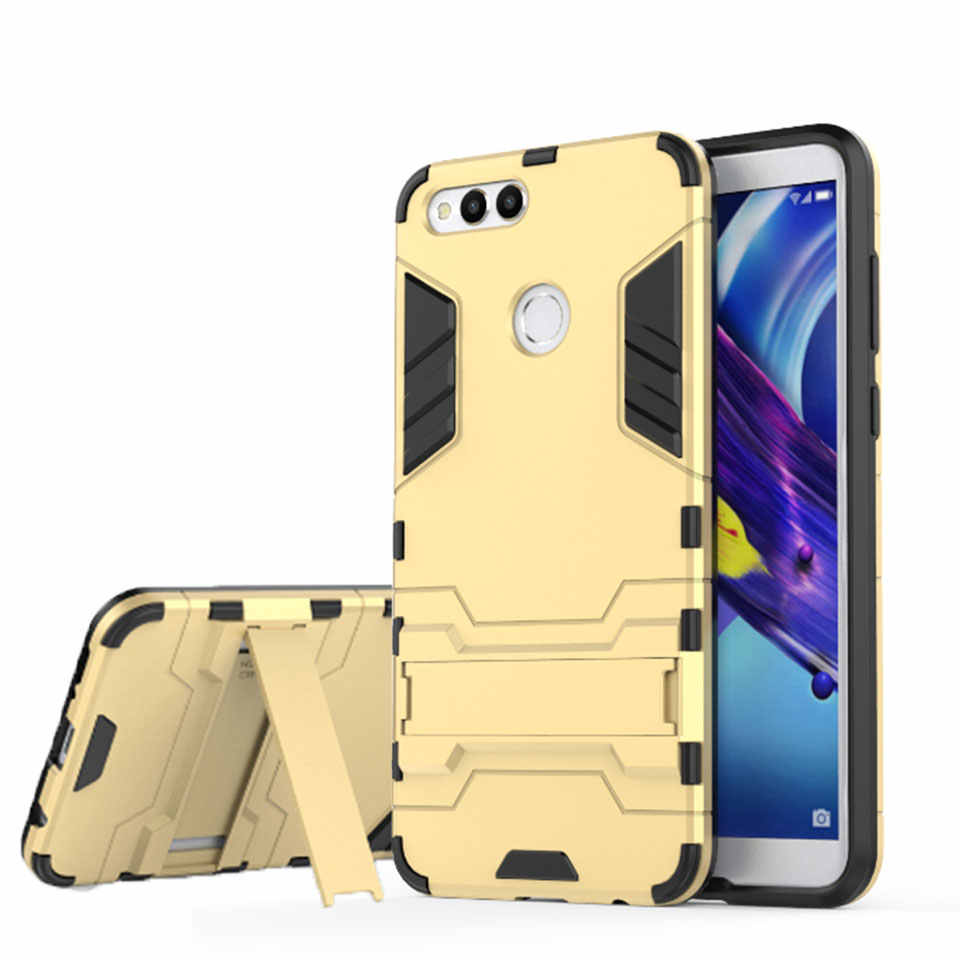 Armor Anti-Shock Silicone + Plastic Hybrid Stand Case For Huawei Honor 7X 6X 5X 7A Pro 6A 5A 5C 6C 8 9 Lite 10 Cover Phone Case