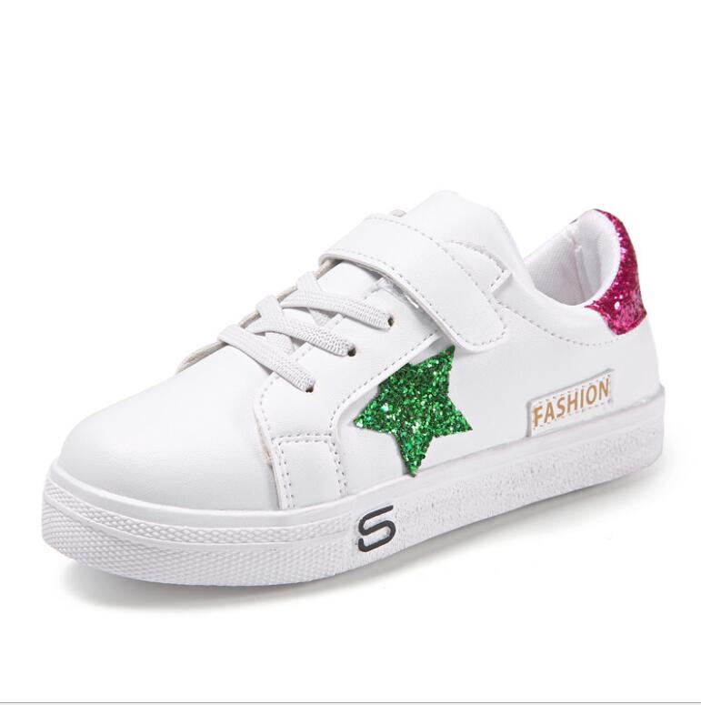 4 5 6 7 8 9 10 11 12 Old Years 2018 New Spring Autumn Casual Falt Shoes For Girls Boys School Kids White Sneaker Shoes 28