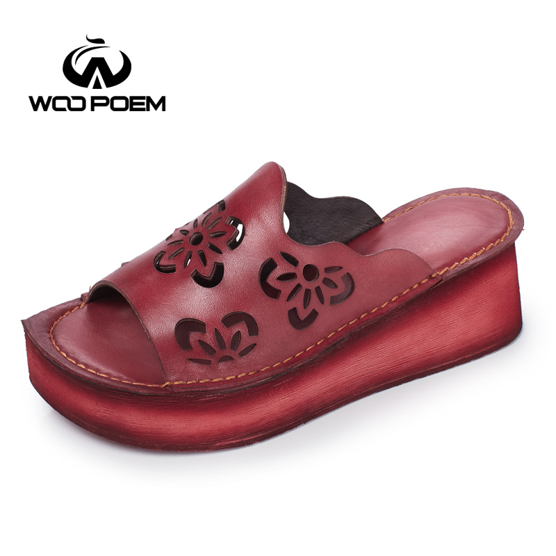 WooPoem Genuine Leather Slippers Hollow Summer Shoes Woman Platform Wedges High Heel Increase Slides Women's Shoes W17T555-86 black women wedge slippers 12cm high heel platform pumps genuine leather shoes woman gladiator sandals slides wedges creepers