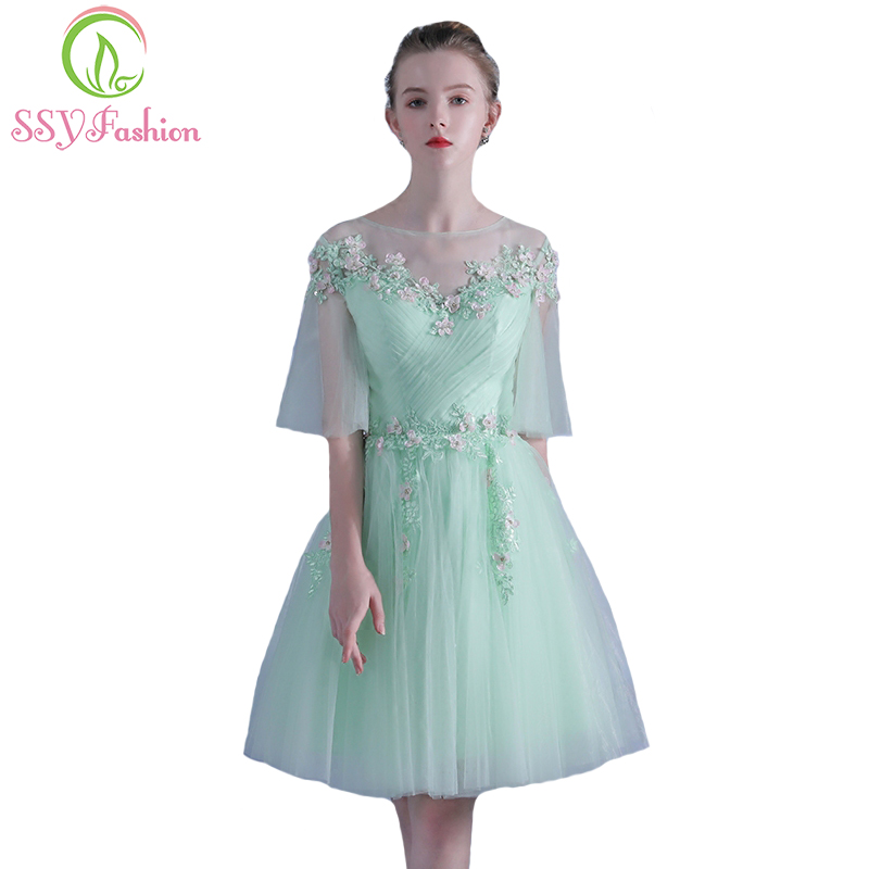 Industrious Ssyfashion Summer New Fresh Light Green Short Cocktail Dress Sweet Lace Flower Banquet Party Gown Custom Formal Dresses Cocktail Dresses