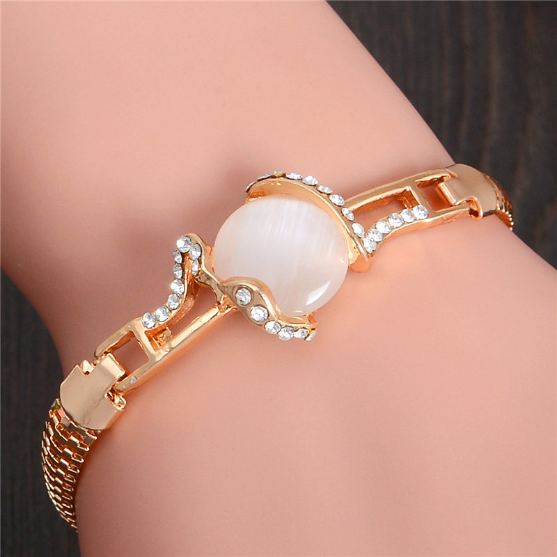 MISANANRYNE  Fashion Jewelry Gold Color Shiny Austrian Crystal Cat Eye Stone New Design Bracelets 2