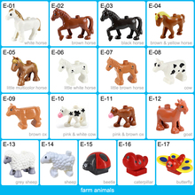 цены Farm Model Building Blocks Original big Particles Bricks accessory Toys Compatible with Duploed Animal horse sheep cow butterfly