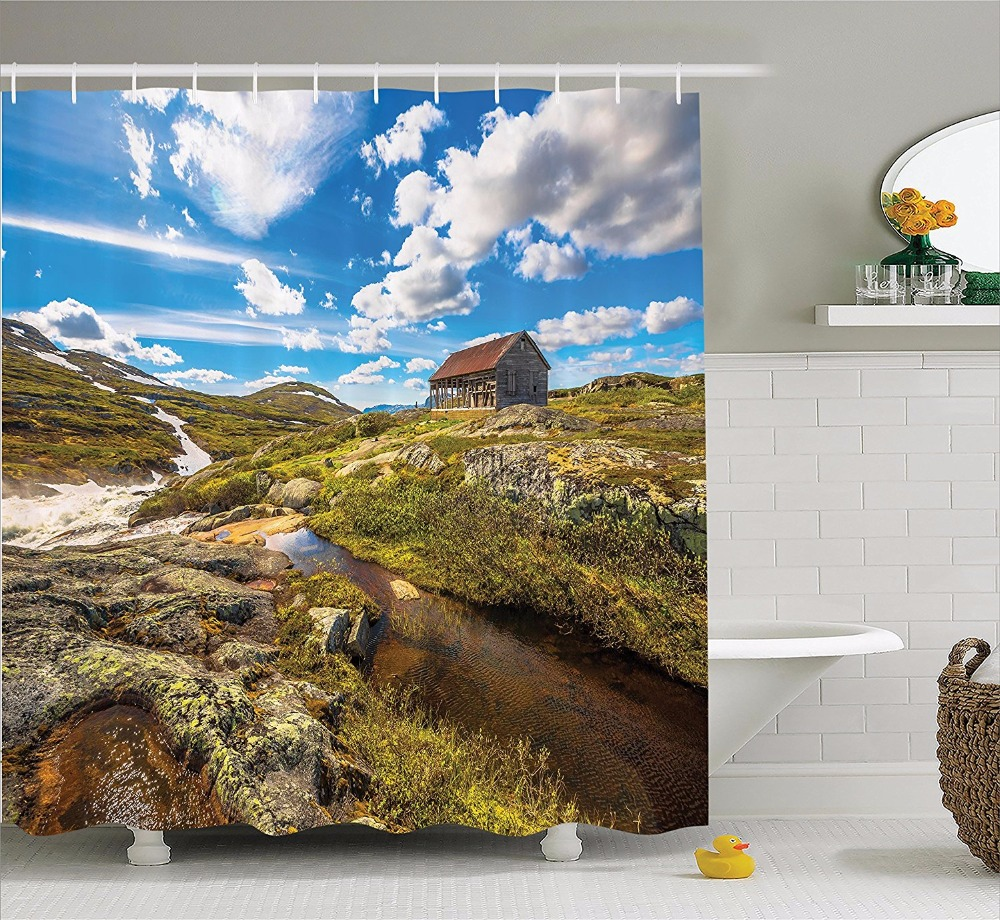 High Quality Arts Shower Curtains Abandoned House <font><b>Into</b></font> <font><b>Wilderness</b></font> By River On Hillside Bathroom Decorative Modern Waterproof