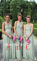 2014 Lovely Mix Style V Neck Ruched Chiffon Mint GreenBridesmaid Dresses Long Floor Length Free Shipping