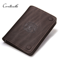 2017 Men Wallets CONTACT S Brand Design Crazy Horse Cowhide Leather Male Clutch Wallets Coins Purse