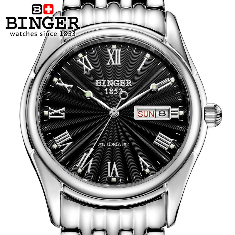 Switzerland men's watch luxury brand Wristwatches BINGER luminous Automatic self-wind  full stainless steel Waterproof B106-2 switzerland watches men luxury brand men s watches binger luminous automatic self wind full stainless steel waterproof b5036 10