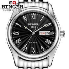 Suisse montres hommes marque de luxe Montres BINGER lumineux Automatique auto-vent complet en acier inoxydable Étanche B106-2