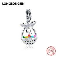 925 Sterling Silver Charm Beads Flower Enamel Fruit Basket Bead Fits Authentic Pandora Bracelets Luxury Fine