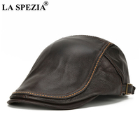 LA SPEZIA Men Coffee Beret Genuine Leather Cowhide Flat Caps Male Winter Brand Solid Real Leather Duckbill Retro Gatsby Ivy Hat