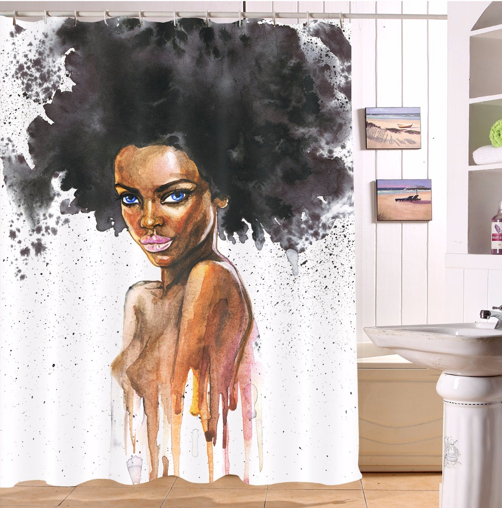 watercolor african sexy afro black woman bathroom shower curtain waterproof polyester 12 hooks bath curtains accessory