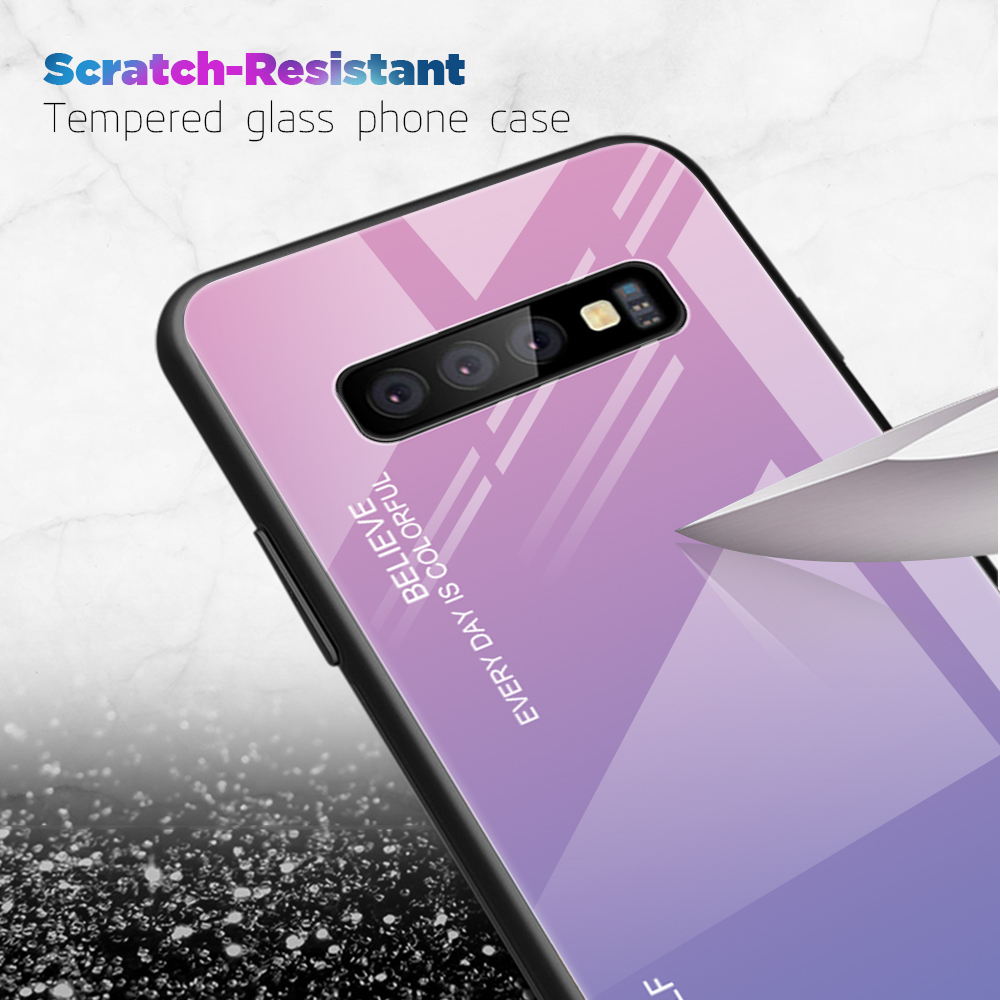 Gradient Glass Case For Samsung S10 Plus S10E Tempered Glass Back Cover Shell For Samsung S 10 Plus Lite Luxury Phone Case Funda in Fitted Cases from Cellphones Telecommunications