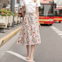 2019 Summer New Bohemian Printed Linen Skirt Half-length Casual  Mid-Calf Natural