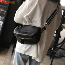 PNDME fashion simple genuine leather ladies messenger bags casual outdoor daily black soft cowhide female shoulder bag for women цена в Москве и Питере
