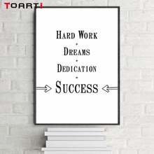 Work Hard Dream Big Typography print Poster Motivational Scandinavian Style Art Bedroom Wall Decor Office Poster Black and White недорого