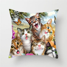 Fuwatacchi Cute Cat and Dog Cushion Cover Animal Pillow Cover for Home Sofa Chair Decorative Pillows 45*45cm Throw Pillows fuwatacchi cute unicorn cushion cover gold stamping throw pillow cover new rainbow christmas decorative pillows for home chair