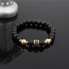 PINIYA Hot Sale Micro Pave Black CZ Gold Color Tube Charm Elastic Bracelet Men Womens Onyx Stone Bead Yoga