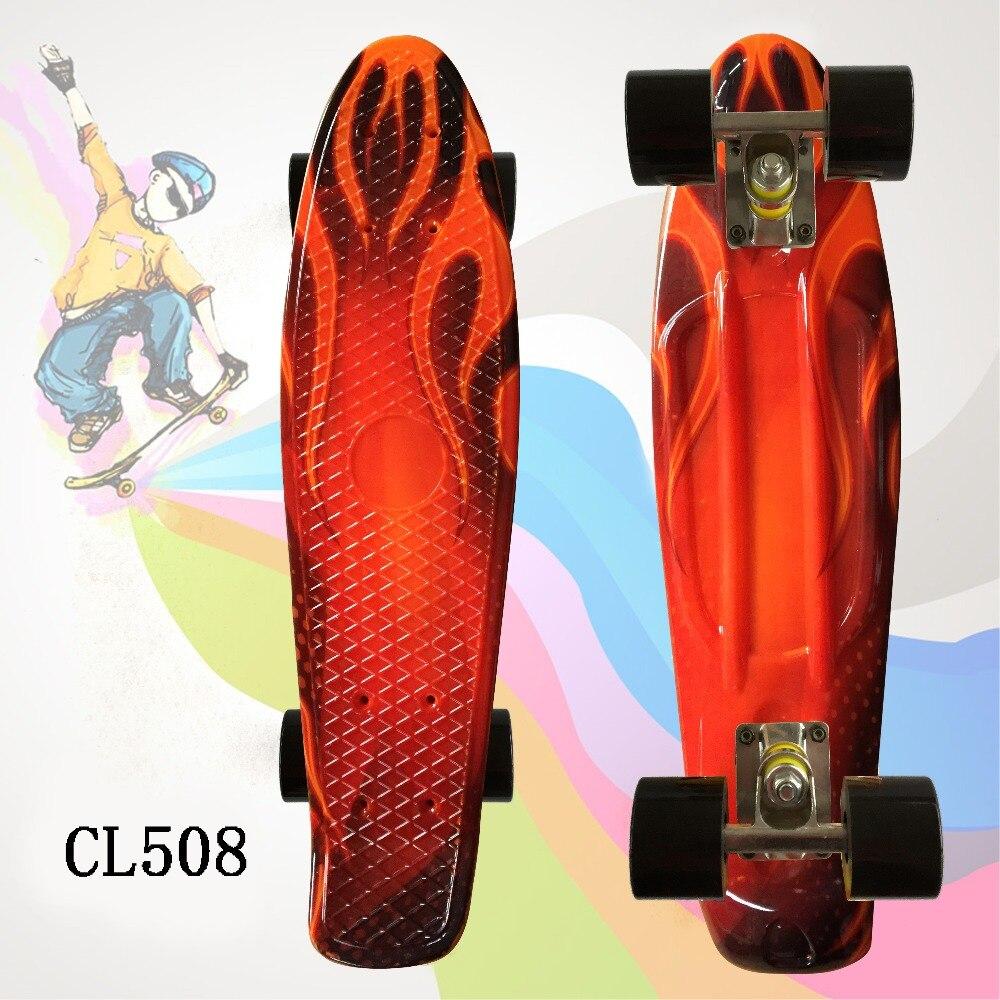 Купить с кэшбэком Child Skateboard Flashy Penny Board 22 inch Fishboard Cruiser Banana Skate Board Mini Skateboard for Kids Outdoor Sports