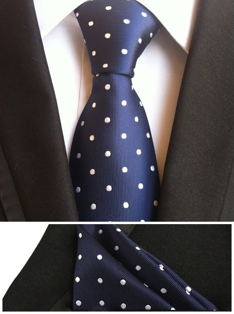 Дизайнерский комплект шейных платков 8 см строгий галстук темно-синий с белыми точками галстук совпадают модный носовой платок