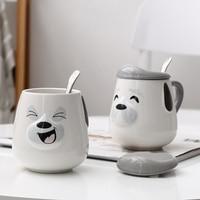 Creative Animals ceramic cup cartoon dog Smiling face expr mug Breakfast Simple cute animal High capacity milk Cup