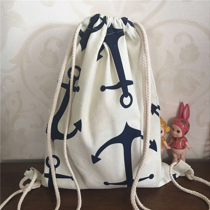 YILE Cotton Canvas Drawstring Travel Backpack Book Rucksack Big Blue Anchor B22