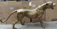 wholesale factory 60 Chinese Bronze Wealth Feral Leopard Panther Statue Lion Animals Sculpture