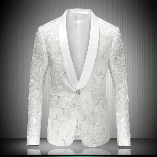 (Куртка + тяжелое дыхание) костюм мужской мальчик куртка белый пиджак верхняя одежда свадьба жених выпускного вечера ночной клуб певица платье производительности шоу тонкий звезда