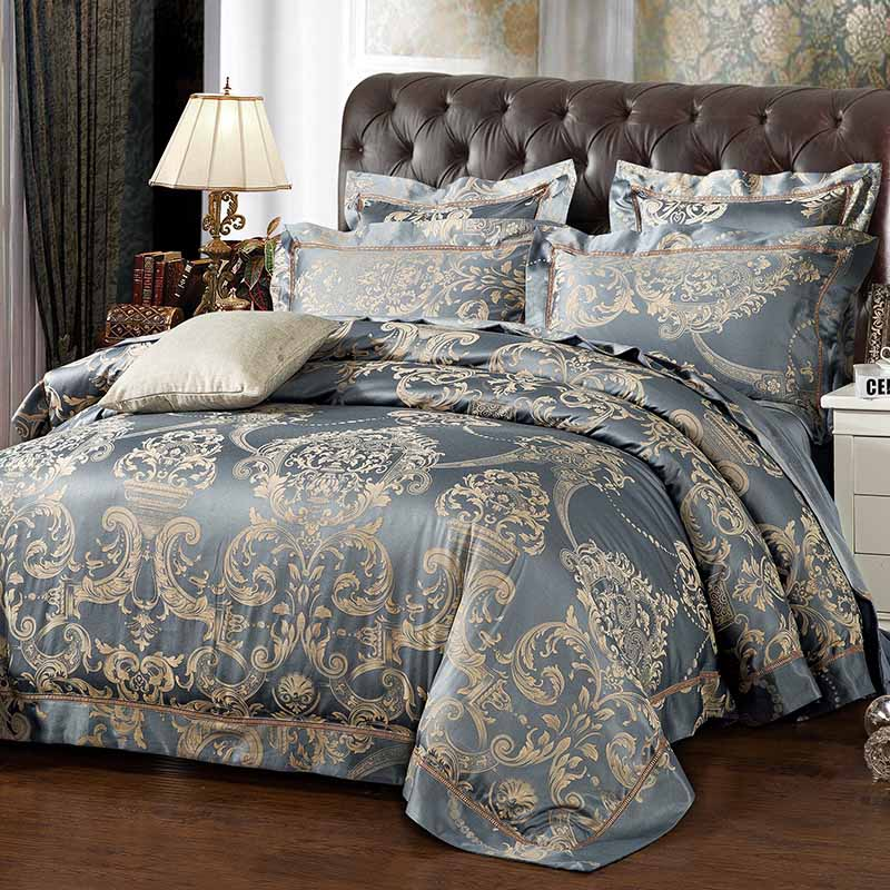 lace jacquard luxury bedding sets queen king <font><b>size</b></font> stain <font><b>bed</b></font> set 4pcs cotton silk duvet cover sets bedsheet free shipping gift