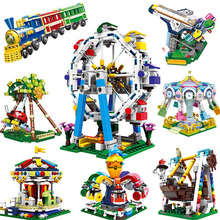 XINGBAO City Amusement Park Series Ferries Wheels Train Merry-go-round Building Blocks MOC Bricks Compatible Legoings Amusement wheels go round level 1