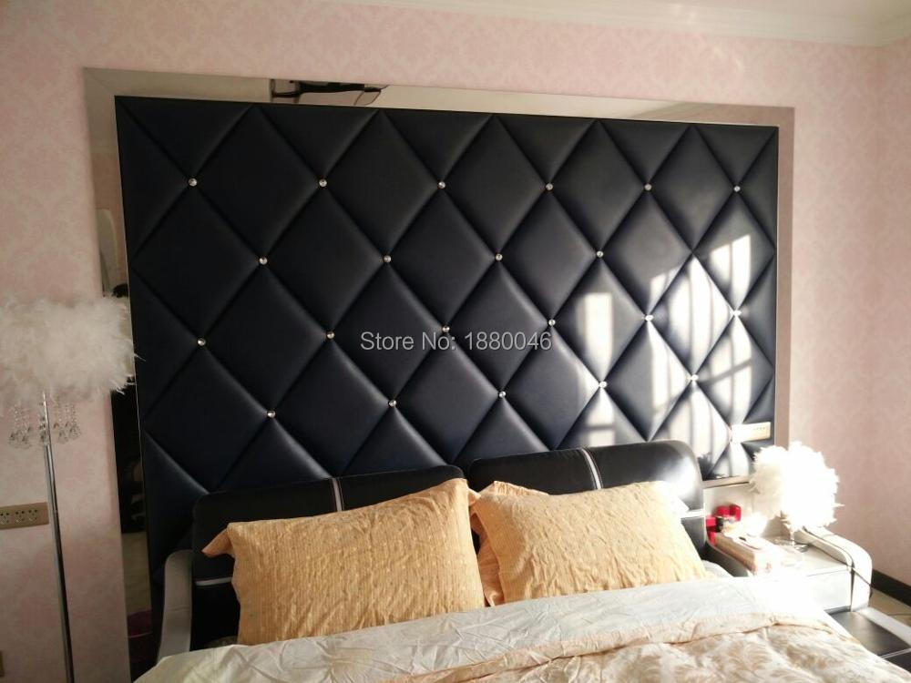 2018 High Quality Black color 3D glue on PU Leather wall panel Diamonds wall sticker for Bedroom wall wall art
