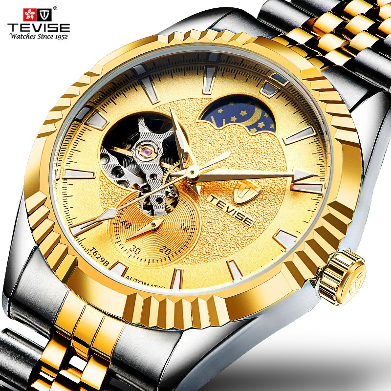 TEVISE Tourbillon Mechanical Watch Men Automatic Moon Phase Luminous Waterproof Clock Male Causal Mens Mechanical Watches tevise men automatic self wind mechanical wristwatches business stainless steel moon phase tourbillon luxury watch clock t805d