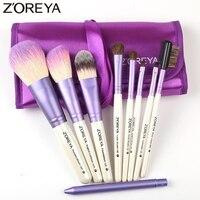 Zoreyaブランド9ピース/セット紫色メイクブラシ天然ヤギ毛ブラシセット用女性化粧品ツールパウダーブラシキッ