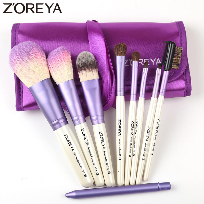 Zoreya Brand 9pcs/set purple color makeup brushes Natural Goat hair brushes set for women Cosmetic tool powder brushes kits