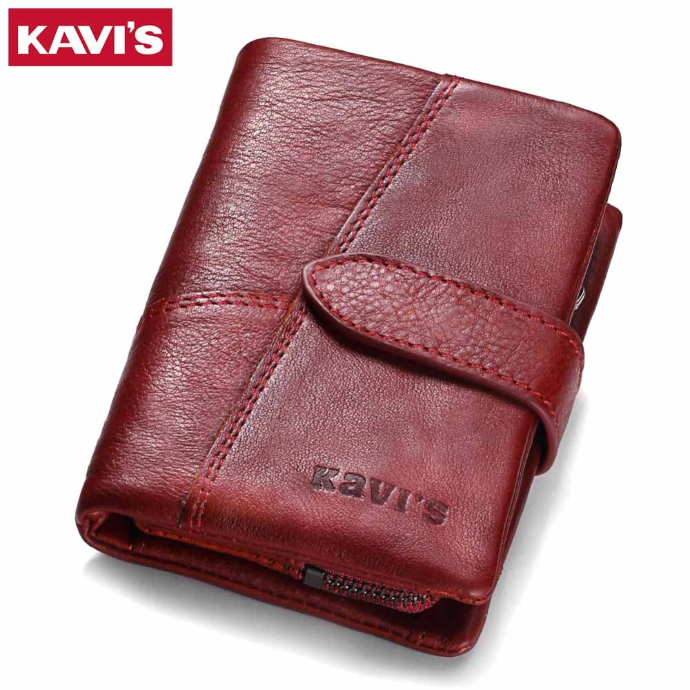 KAVIS 2018 Genuine Leather Women Wallet And Purses Coin Purse Female Small Portomonee Rfid Walet Lady