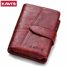 KAVIS 2019 Genuine Leather Women Wallet And Purses Coin Purse Female Small Portomonee Rfid Walet Lady