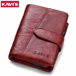 Image 1 - KAVIS 2020 Genuine Leather Women Wallet And Purses Coin Purse Female Small Portomonee Rfid Walet Lady Perse For Girls Money Bag