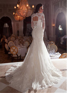 Image 3 - Gorgeous Tulle Queen Anne Neckline Mermaid Wedding Dresses with Lace Appliques 3/4 Sleeves Bridal Gowns with Beading Sash