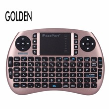 Wholesale prices iPazzPort Gold/ Black Wireless Mini Keyboard with Touchpad for Android TV Box and Raspberry Pi 3 and HTPC