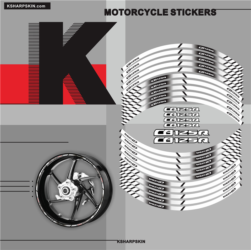 Motorcycle Inner Wheel Stickers Rim Reflective Decoration Decals Fit HONDA CB125R