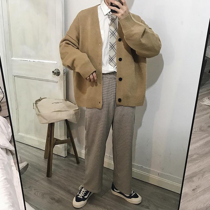 2018 New Exquisite Korean Version Of The Loose Couple Models Men's Cardigan Sweater Gray / Khaki / Sky Blue Size M-XL