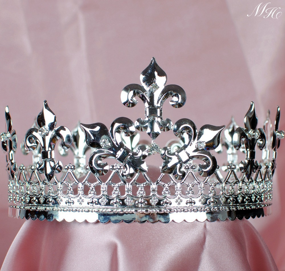 Men's Tiara Diadem Imperidal Medieval Fleur De Lis Silver Crown Austrian Rhinestones Crystal Pageant Party Costumes medieval handgonnes